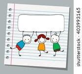 notebook paper happy kids with...   Shutterstock .eps vector #403993165