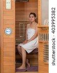 infrared sauna cabin with thai... | Shutterstock . vector #403995382