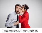 young man telling gossips to... | Shutterstock . vector #404020645