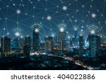 wifi icon and city scape and... | Shutterstock . vector #404022886