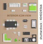 Set top view for interior icon design. Isolated Vector Illustration. Flat interior top view icon | Shutterstock vector #404024566