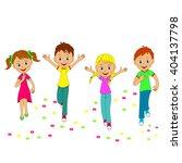 children boys and girls running ...   Shutterstock .eps vector #404137798
