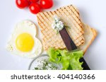 breakfast sandwich with salad... | Shutterstock . vector #404140366
