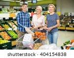 smiling customers choosing... | Shutterstock . vector #404154838