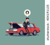 worried driver calling roadside ... | Shutterstock .eps vector #404191135