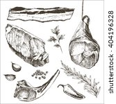 vector steak meat hand drawing...   Shutterstock .eps vector #404196328