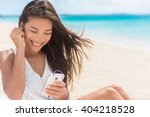 happy smartphone woman... | Shutterstock . vector #404218528