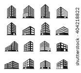 buildings icons set. vector... | Shutterstock .eps vector #404218822