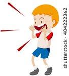 little boy yelling at something ...