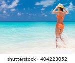 carefree woman having fun at...   Shutterstock . vector #404223052