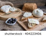 homemade cheese on sliced bread ... | Shutterstock . vector #404223406
