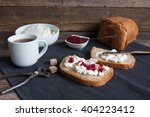 homemade cheese with raspberry... | Shutterstock . vector #404223412