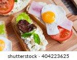 sandwich with egg  tomato ... | Shutterstock . vector #404223625