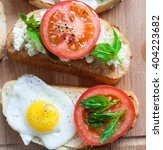 sandwich with egg  tomato ... | Shutterstock . vector #404223682