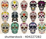 sugar skulls set  day of the... | Shutterstock .eps vector #404227282