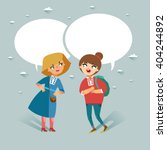 two teenage girls talking.... | Shutterstock .eps vector #404244892