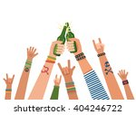 youth crowd hands toasting with ... | Shutterstock .eps vector #404246722