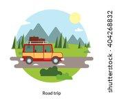 road trip. flat design round... | Shutterstock .eps vector #404268832