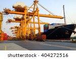 the work of giant cranes... | Shutterstock . vector #404272516