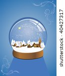 snow dome with a town within | Shutterstock .eps vector #40427317