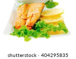salmon steak on white plate... | Shutterstock . vector #404295835