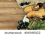 travel accessories set on... | Shutterstock . vector #404340322