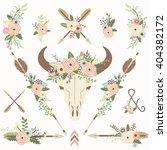 floral bull skull elements   Shutterstock .eps vector #404382172