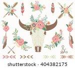 floral bull skull collections   Shutterstock .eps vector #404382175