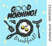 sketched breakfast set   pan ... | Shutterstock .eps vector #404393212