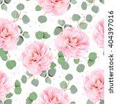 pink camellia and eucalyptus... | Shutterstock .eps vector #404397016