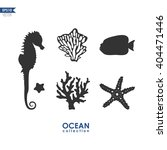 Set Of Sea Animals Isolated On...