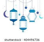 ramadan kareem with blue lamps  ... | Shutterstock .eps vector #404496736