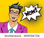 Wow face. Pop art man. Young surprised man in glasses with open mouth. Vector illustration in retro comic style. Vector pop art background. | Shutterstock vector #404536726