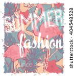 tropical print with flamingo... | Shutterstock .eps vector #404548528