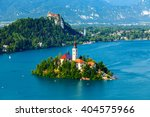panoramic view of bled lake ... | Shutterstock . vector #404575966
