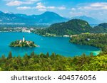 panoramic view of bled lake ...   Shutterstock . vector #404576056