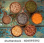 Raw Legume On Old Rustic Woode...