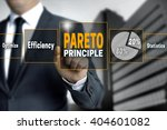 Small photo of Pareto touchscreen is operated by businessman.