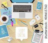 study online. vector desktop...