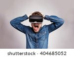 man wearing virtual reality... | Shutterstock . vector #404685052