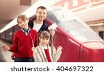 happy family at a train station | Shutterstock . vector #404697322