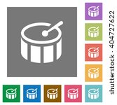 drum flat icon set on color...