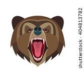 cartoon growling bear head... | Shutterstock .eps vector #404813782