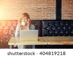 happy young hipster woman... | Shutterstock . vector #404819218