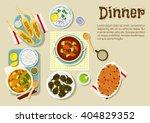 dinner with garlic chicken legs ... | Shutterstock .eps vector #404829352