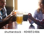 group of happy friends drinking ... | Shutterstock . vector #404851486
