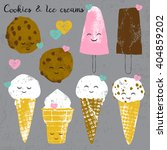 vector set with ice creams and... | Shutterstock .eps vector #404859202
