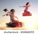 dreams of travel  child girl... | Shutterstock . vector #404868355