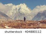 hiker in himalayas mountain.... | Shutterstock . vector #404880112