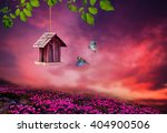 little birdhouse in spring with ... | Shutterstock . vector #404900506